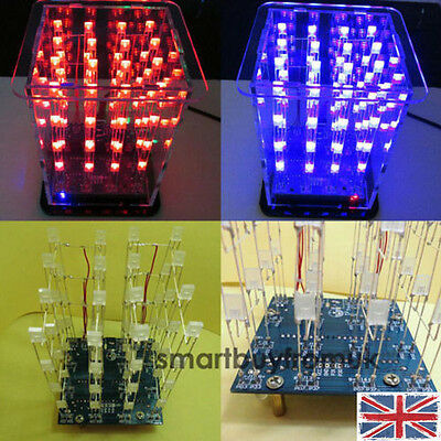 New 3D Squared DIY Sets Tool Set Kit 4x4x4 LED Cube LED Blue/Red Light PCB Board