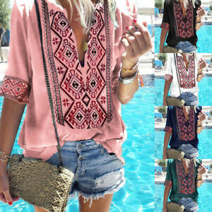 Women-Plus-Size-V-Neck-Tops-Ethnic-Style-Printed-Blouse-Boho-Shirts-T-shirt-GIFT