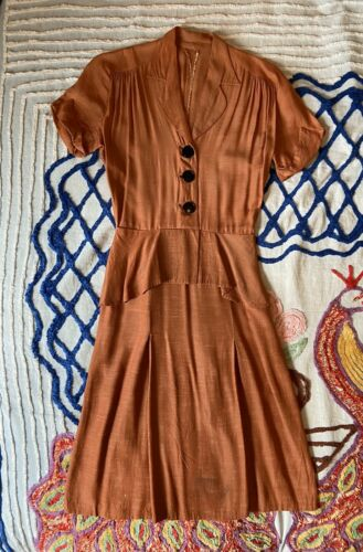 Vintage 1940s 1930s Terra Cotta Orange Rayon Peplu