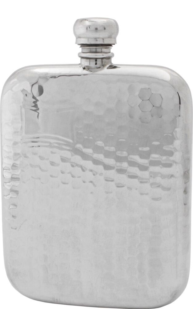 3 oz (environ 85.05 g) anglais étain Hip Flask Rustic Handmade by PINDER BROS SHEFFIELD  Nouveau