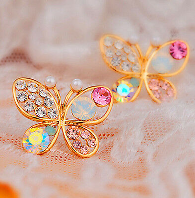 1 Pair Women Gold Plated Crystal Rhinestone Hollow Butterfly Ear Stud Earrings