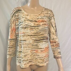 Chicos-Size-1-Ruched-Scoop-Neckline-Orange-Brown-3-4-Sleeve-Blouse