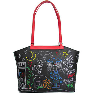 8777626ac28920 Image is loading Braccialini-black-Shopper-bag-with-embroidery-of-Space-