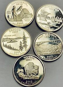 5 Washington Silver Proof DCAM Quarters Mixed Lot Of State,NP Series In Cap