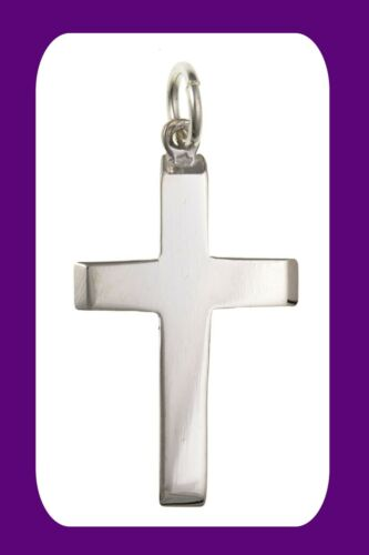Details about  /Silver Plain Cross Pendant Sterling Silver Hallmark 26 x 15mm All Chain Lengths
