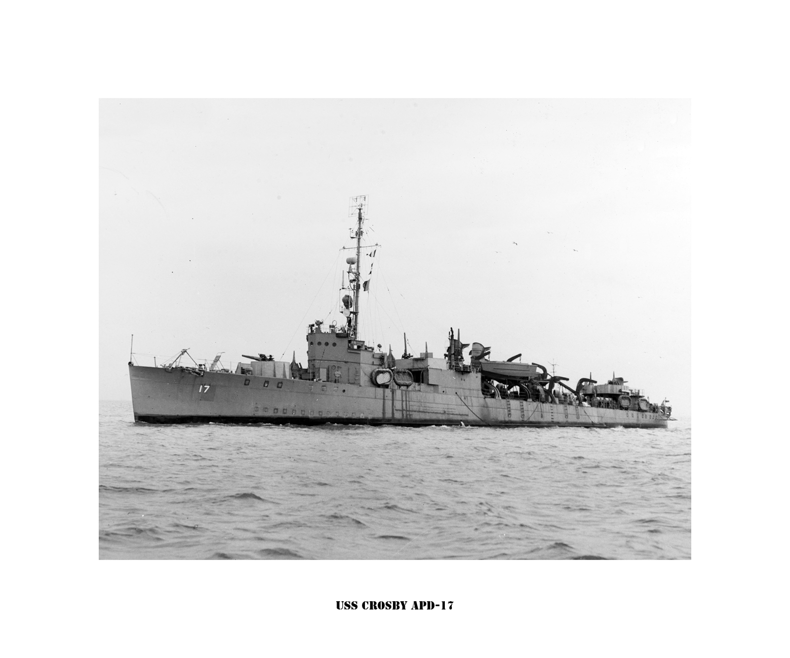 USS Crosby (APD-17) -- Naval Ship Photo Drucken, USN Navy