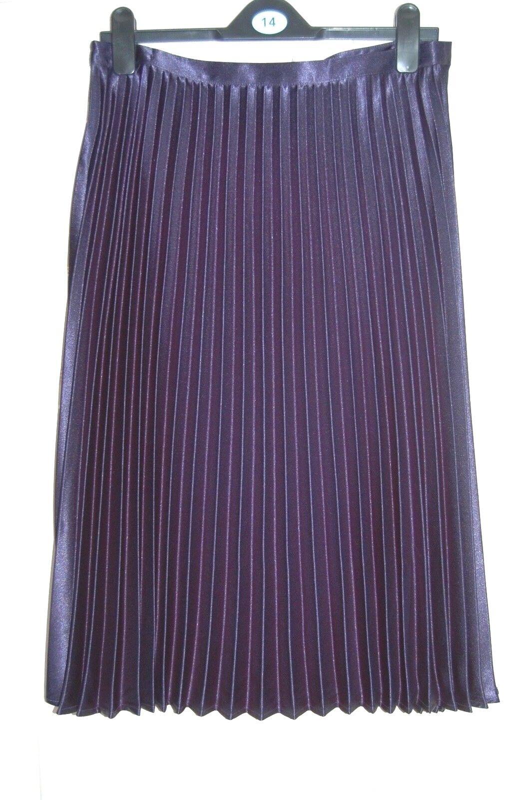 ️ ️ NEW 12 14 16 18 Metallic Navy bluee Pleated Midi Satin Sheen Skirt Zip