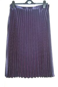f6b6dd50b63 NEW 12 14 16 18 Metallic Navy Blue Pleated Midi Satin Sheen Skirt ...