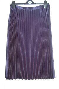 f6b6dd50b63 NEW 12 14 16 18 Metallic Navy Blue Pleated Midi Satin Sheen Skirt ...