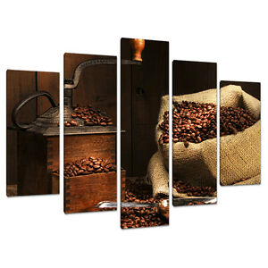 Five canvas pictures kitchen dining room brown wall art for Ebay dining room wall art