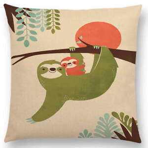 Image is loading Sloth-Gifts-Cushion-Cover-Giraffe-Elephant-Sloths-Assorted-