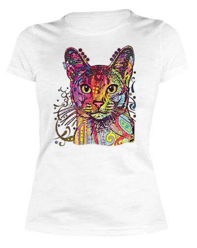 Chats Femmes shirt Chats Motif tank top art pression Coloré Fluo Chat Fille CAT