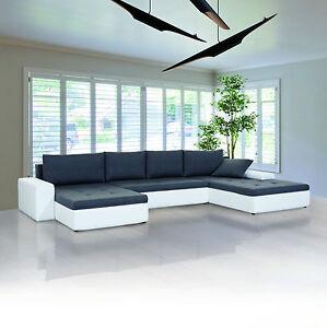 Couch u form schlaffunktion  XXL Wohnlandschaft PORTO U Form Sofa mit Schlaffunktion Farb- und ...