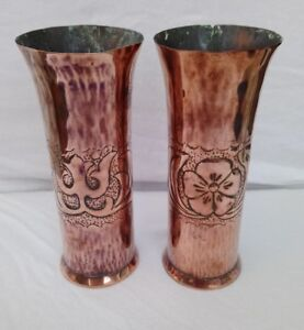 Arts & Crafts Movement Believed To Be Keswick Ksia Arts & Crafts Pair Of Copper Vases Antiques