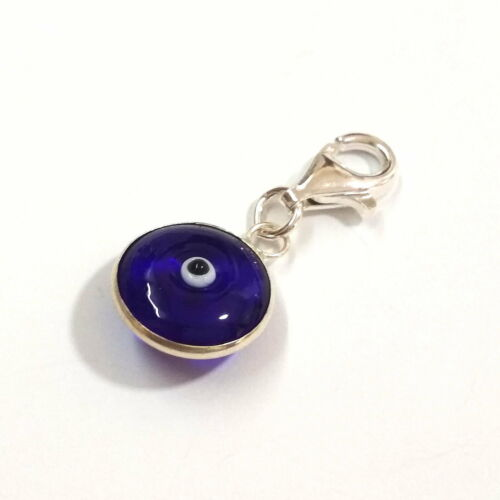 925 Sterling Silver 13mm EVIL EYE Clip On Charm Pendant with 11mm Lobster Clasp
