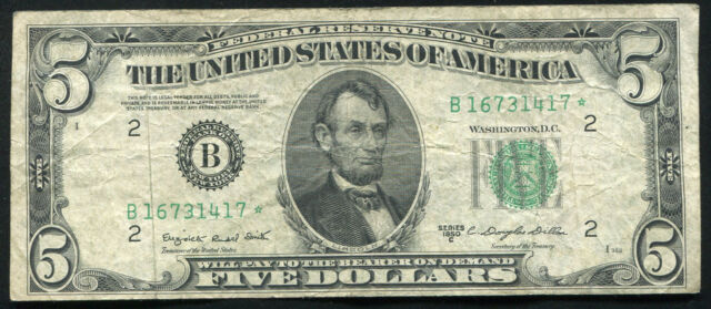 1950-C $5 FIVE DOLLARS *STAR* FRN FEDERAL RESERVE NOTE NEW YORK, NY