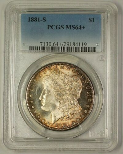 1881S Morgan Silver Dollar Coin $1 PCGS MS64+ Nicely Toned