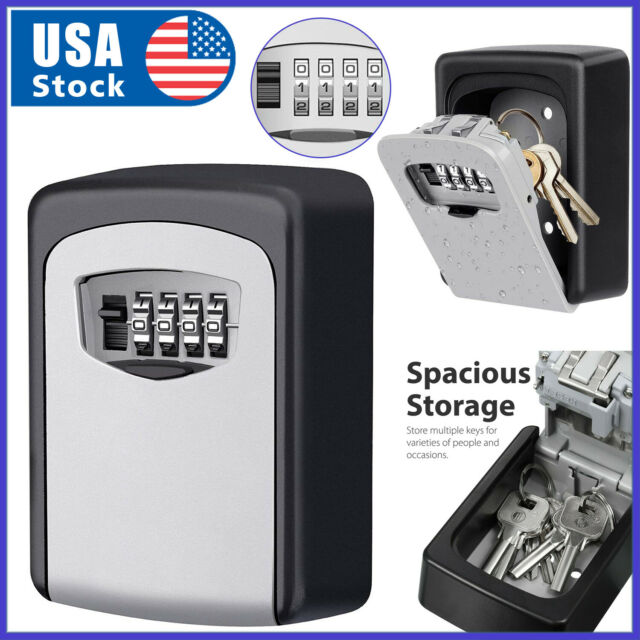 Wall Mounted 4-Digit Combination Key Lock Storage Safe Security Box Outdoor Home