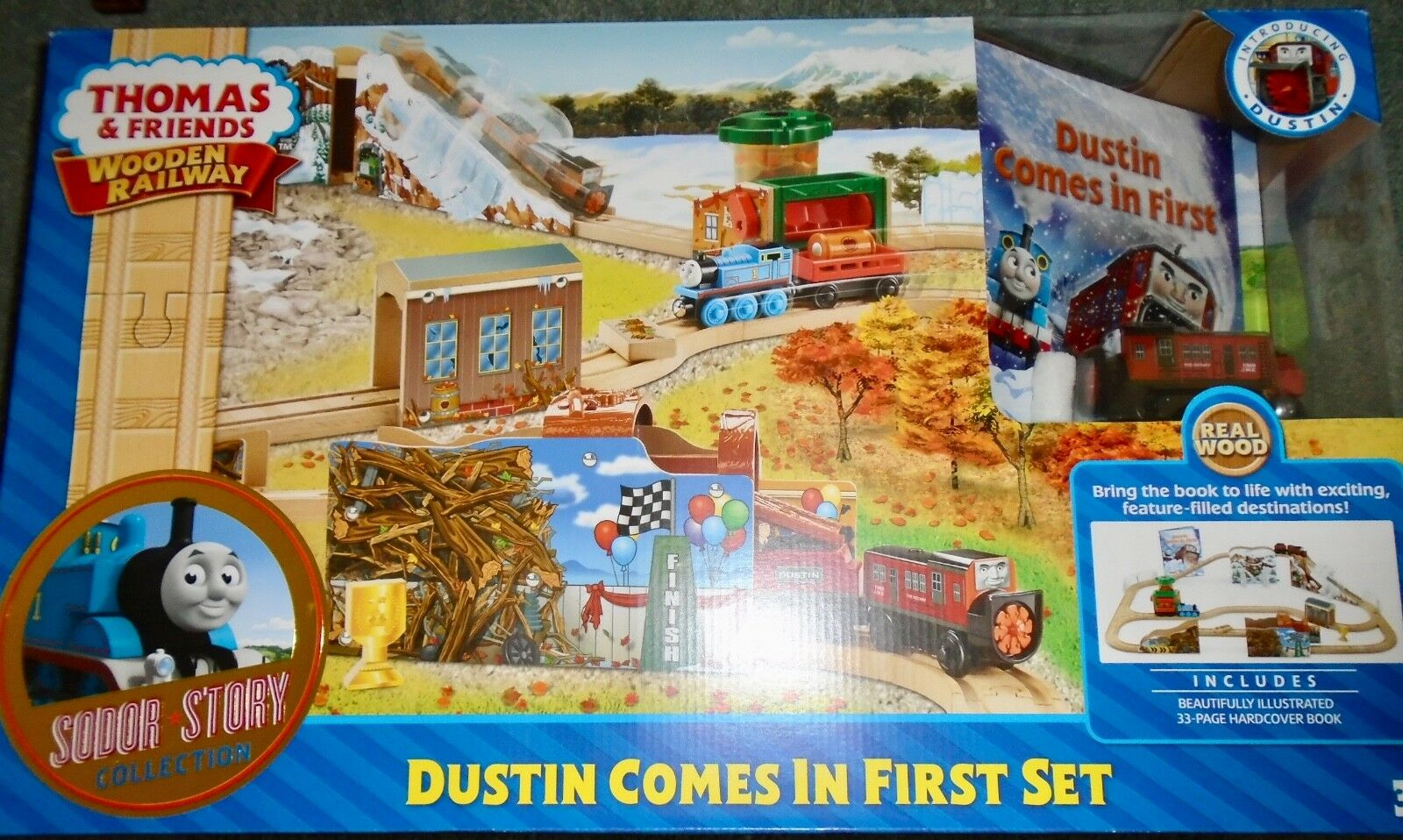 NEW  FISHER  PRICE  THOMAS  &  FRIENDS  DUSTIN  COMES  IN  FIRST  WOODEN  SET