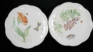Lenox-BUTTERFLY-MEADOW-4-Accent-Luncheon-Plates-Dragonfly-Eastern-Blue-LIGHT-USE