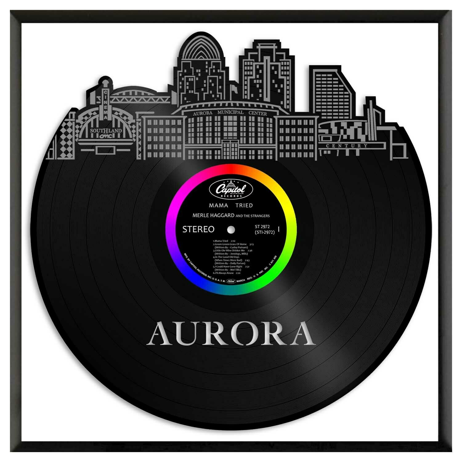 Aurora CO Vinyl Wall Art Cityscape Souvenir Anniversary Home Decoration Framed