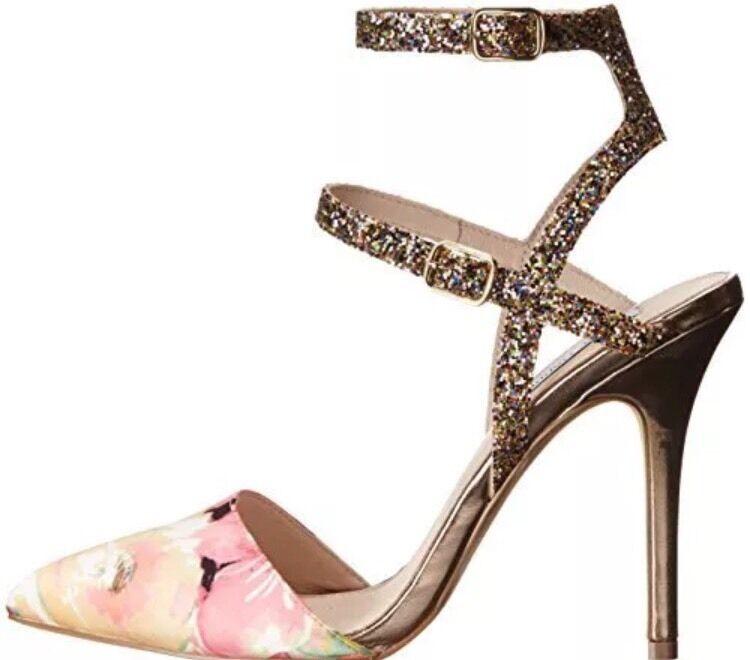 Steve Madden Madden Madden Porttt F Floral Multi Pointed Almond Toe Pump Ankle Strap 7.5 M New 2c6587