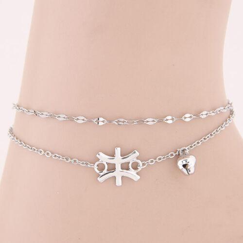 Astrologique 12 Zodiac Signe Constellation Argent Bracelet Chaîne Bracelet De Cheville