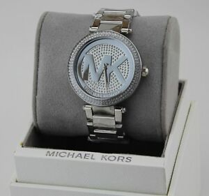 f7dbc61eb0ff Image is loading NEW-AUTHENTIC-MICHAEL-KORS-PARKER-SILVER-CRYSTALS-WOMEN-