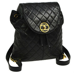 Authentic CHANEL Quilted CC Chain Backpack Bag Black Leather ... : chanel quilted backpack - Adamdwight.com