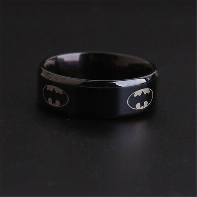 2015 cool Black Titanium Men Boy Batman &Superman Symbol  Stainless Steel Ring