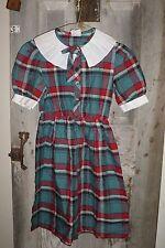 VINTAGE BONNIE JEAN RED GREEN GINGHAM PLAID SHIRTWAIST GIRL'S DRESS SIZE 12