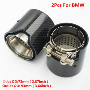 2Pcs 73mm IN-93mm OUT Glossy  Carbon Fiber Car Exhaust Tip Muffler Tail End Pipe