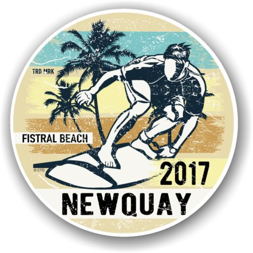 COOL vecchia scuola Surf Fistral Beach Newquay 2017 Auto Adesivo Vinile Decalcomania 100mm