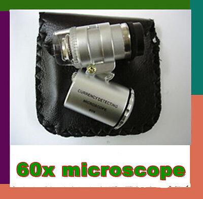 ·Mini Jeweller 60X Pocket Microscope Magnifier Lamp Loupe Glass practical ·