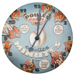 Clock-Round-Metal-Hens-Party-natives-Deco-Retro-Vintage-13-3-8in