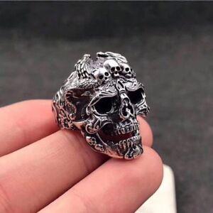 Men-039-s-Titanium-Steel-Fashion-Gothic-Punk-Skull-Head-Biker-Finger-Rings-Jewelry
