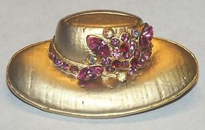 """Unbranded Decorative Gold Toned Hat w/ Pink Rhinestones 1 1/2"""" Inch Pin / Brooch"""