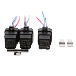 3-Sets-DC-24Volt-40Amp-SPST-Automotive-4Pins-Relay-4-Wires-Harness-Sockets