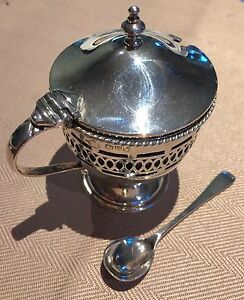 1912-Titanic-Year-Chester-Solid-Silver-Mustard-Pot-With-Blue-Liner