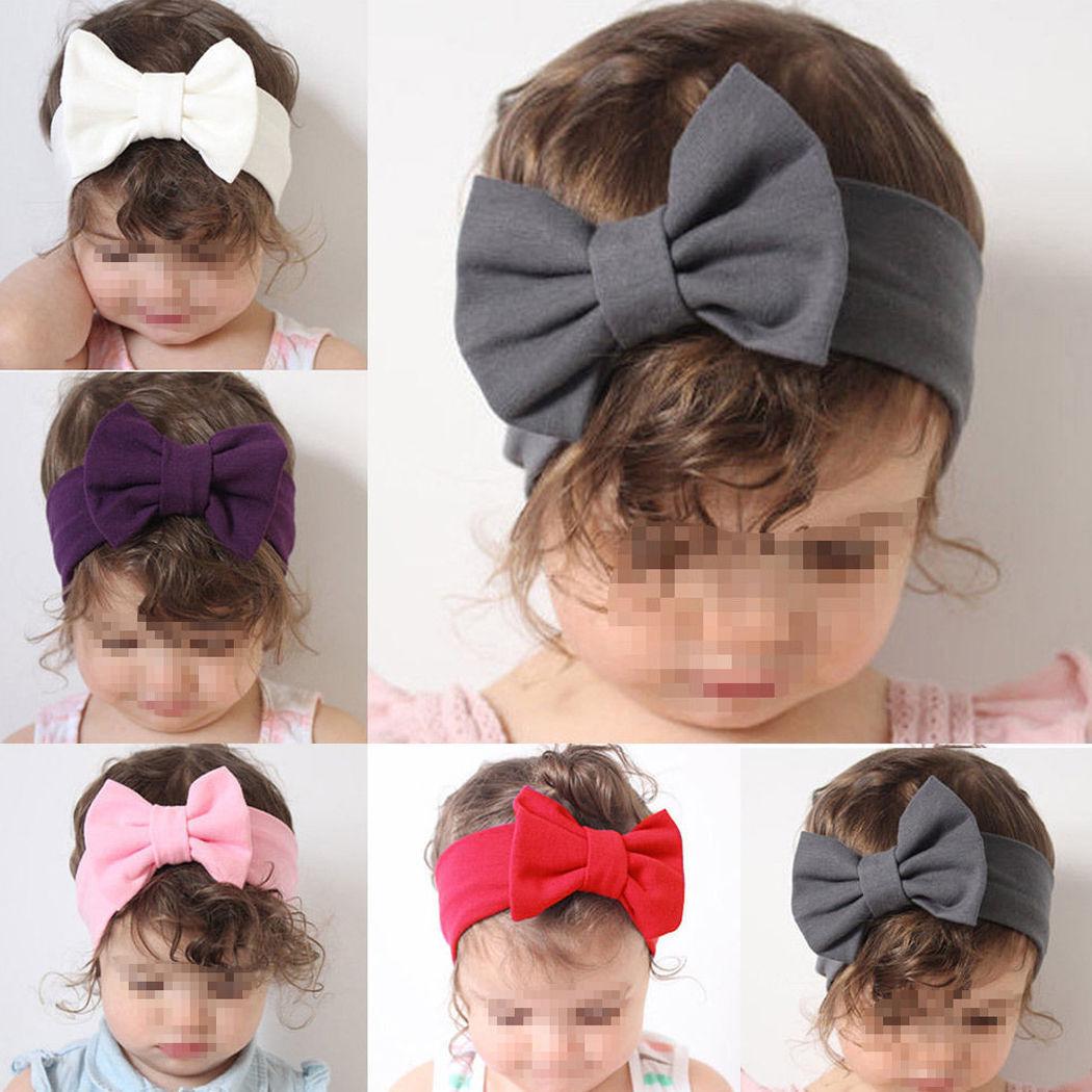 5PCS Girls Kid Baby Cotton Bow Hairband Headband Stretch Turban Knot Head Wrap K