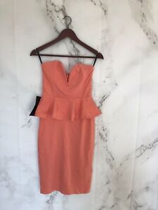 Bebe Womens Dress Size Small Orange Peplum Midi Robe Basque Nwt Ebay