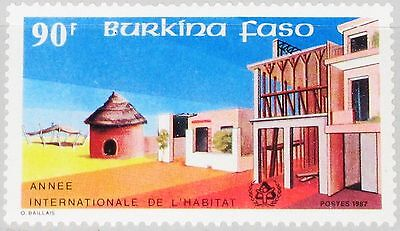 Briefmarken Burkina Faso 1987 1158 828 Intl Year Of Shelter For Homeless Houses Gebäude Mnh Feine Verarbeitung