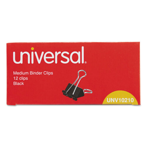 "UNIVERSAL Medium Binder Clips 5//8/"" Capacity 1 1//4/"" Wide Black 12//Box 10210"