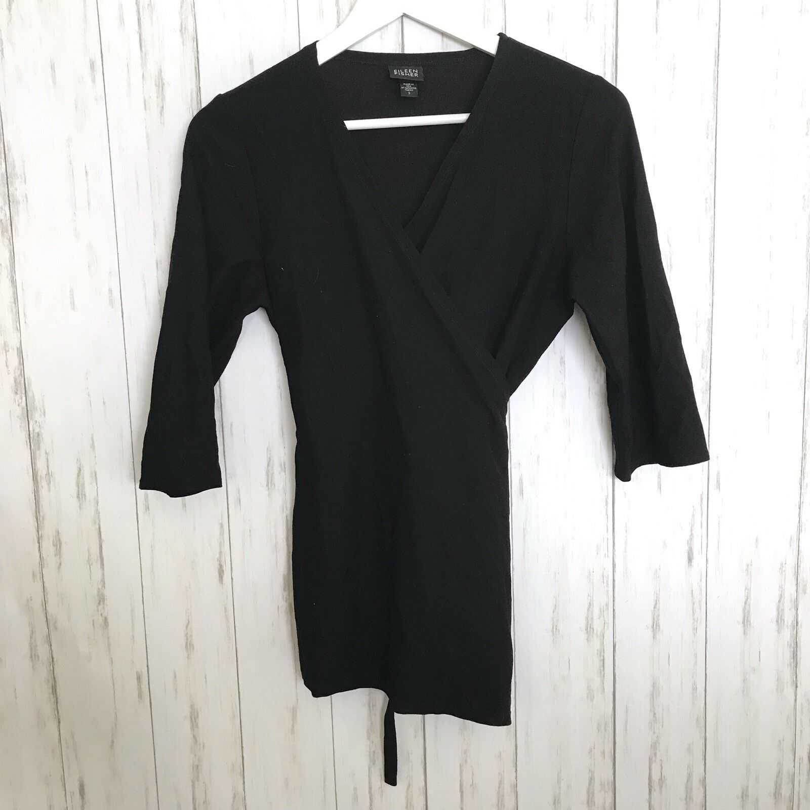 Eileen Fisher Small Solid schwarz Wrap V-neck Top Blouse 3 4 Sleeve Made In USA