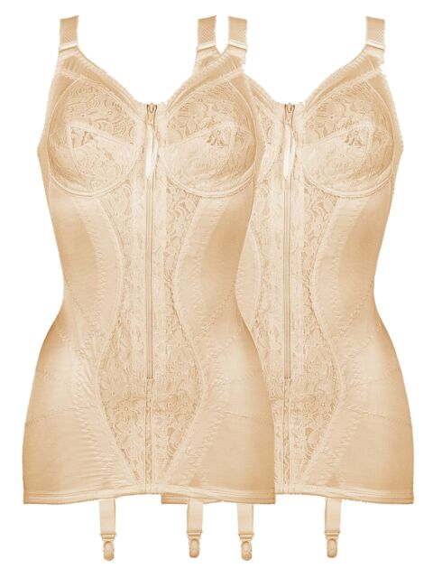 34c34059e5b1c Naturana Pack of 2 Open Bottom Corselette With Front Zip 3011 Beige ...