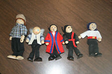 5 Dollhouse Wooden Figures Ninjas Pirate Grandfather Dad 1 Pintoy Man w/ Hat