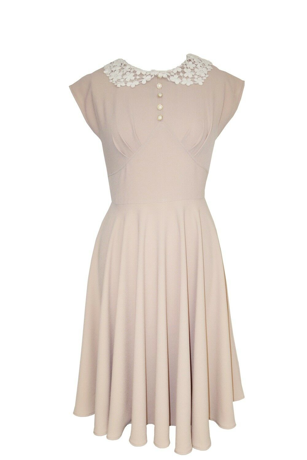 Hell Bunny Plus 50's Vintage Fit and Flare Pretty Crochet Collar Emilie Dress