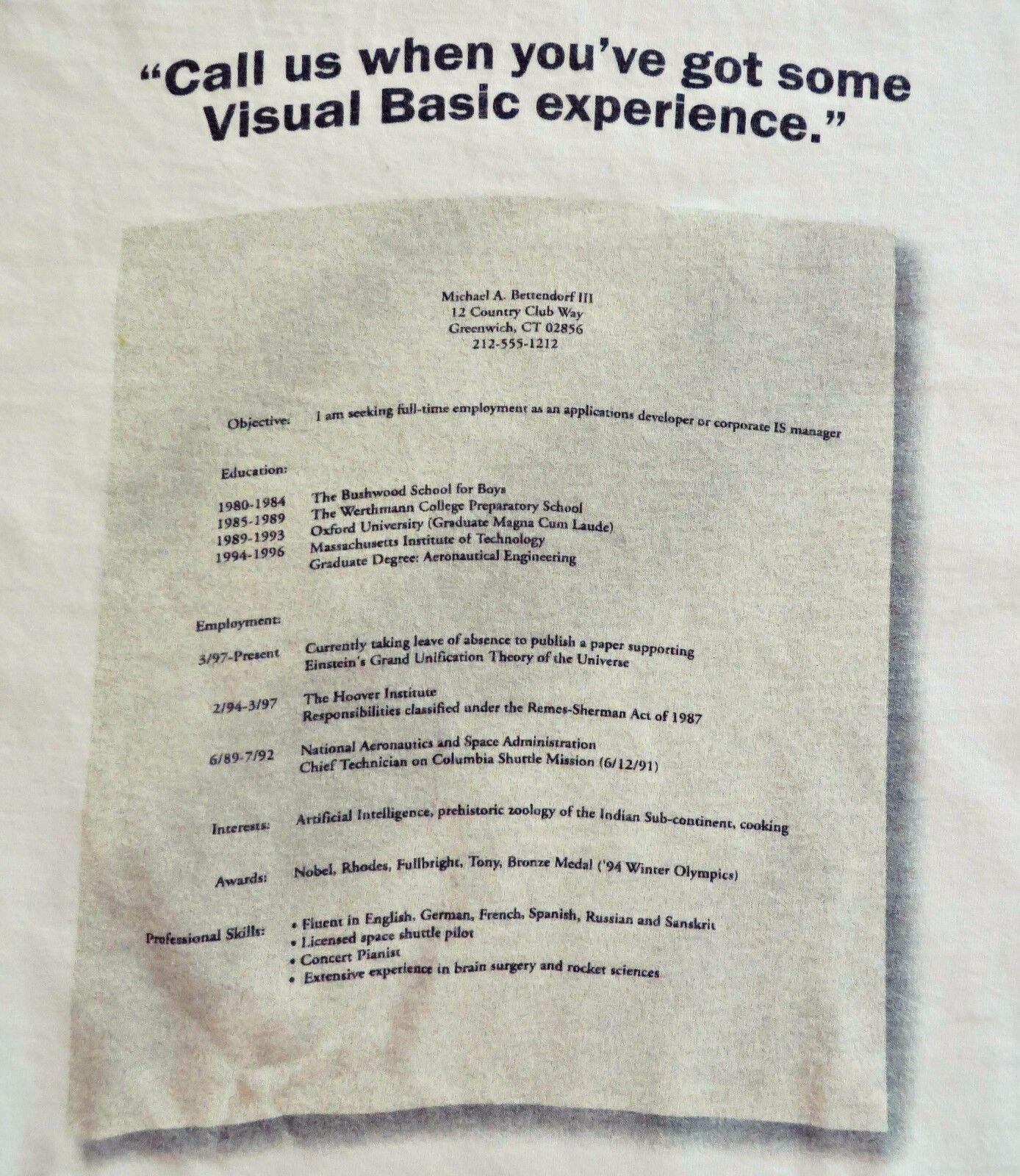 Vtg 90s Microsoft VISUAL BASIC Computer Tech Tee T-Shirt White Cotton Sz XL RARE