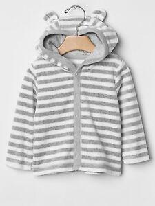 GAP Baby Boy / Girl 3-6 Months Gray White Velour Striped ...