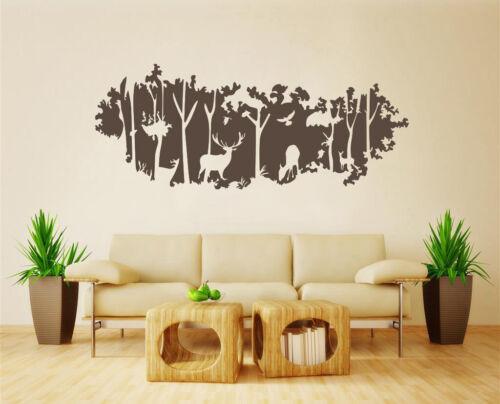 Arbre Forêt Cerf Oiseau Autocollants Muraux Wall Decal Art Vinyl DECOR UK SH272